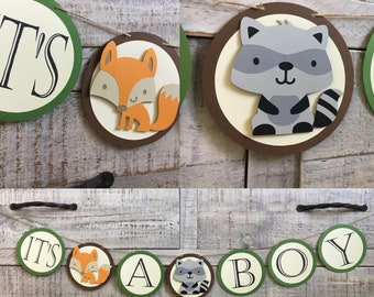 Woodland Animals Its A Boy Banner | Its A Boy Banner | Baby Shower Banner | Woodland Animals Banner