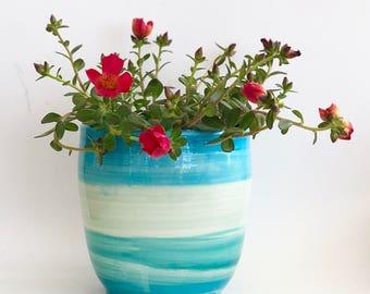 Handmade Aqua Orchid Pot with Holes