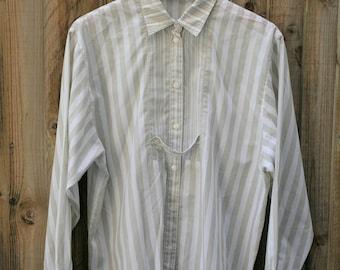 Vintage Oversized 'boyfriend' shirt Olive and White Size Medium (12-14) Cotton Blend