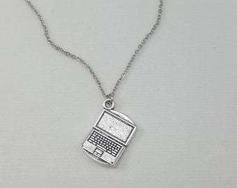 Laptop Necklace, Computer Necklace, Blogger Necklace, Writer Necklace, Workaholic Necklace, Nerdy Jewelry