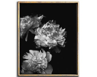 Peonies Wall Art, Dark Floral Wall Art, Moody Floral Print, Downloadable Prints, Peony Print, Black and White Flower Print, Dark Floral, Art