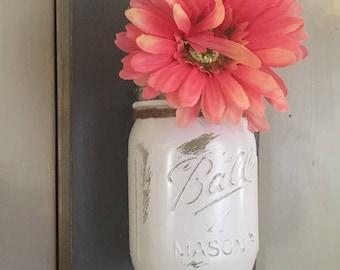 Wall Sconce | Wood Wall Sconce Set | Mason Jar Sconce | Mason Jar Decor | Rustic Decor | Individual Mason Jar Sconce | Floral Wall Sconce