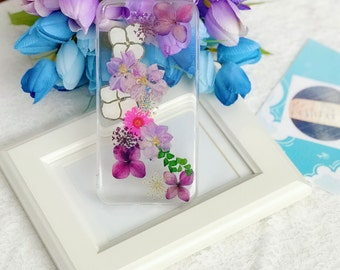 For iphone 8plus 7plus pressed flowers cellphone Silicone soft case for iphone 7plus 8plus purple flowers case