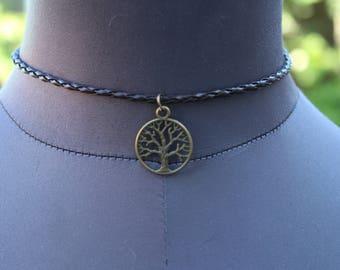 Tree Of Life Brown Plaited Choker Necklace