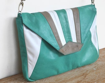 """Leather shoulder bag emerald green, white and gray """"MADU"""""""