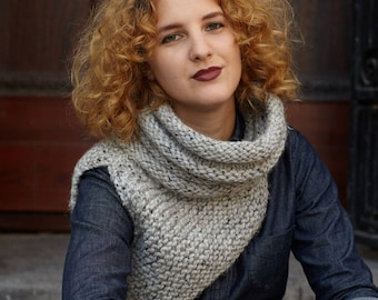 Katniss Cowl / Huntress Cowl / Knit One Shoulder Scarf / Custom Color // THE ZOEY Free Shipping Holiday Gifts for Women
