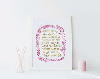 Here Sleeps A Girl Nursery Print Pink Gold Nursery Decor Little Girls Quote Art Print Floral Nursery Wall Art Girls Room Decor Girls Bedroom