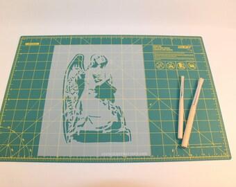 Angel Stencil - Reusable DIY Craft Stencils of an Angel Praying