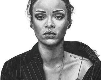 "Rihanna Charcoal Drawing Print 8""x10"" (Limited Edition)"