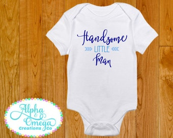 Handsome Little Man with Arrow - Boy's Bodysuit - Baby Shower Gift for Boy - Daddy Son Shirt - Baby Boy Gift - Cute Baby Boy Shirt