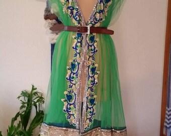 Vintage Sari Bollywood Kaftan Style Tunic in Bright Green