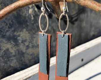 2 Leather Rectangles Earrings