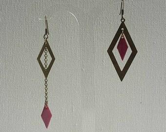 asymmetric earrings bronze with fuschia flowers diamond pendants and chains