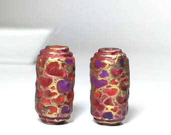 Rustic Tube Beads, Red Purple Gold Polymer Clay Heart Beads, Handcrafted Beads, Heart Beads, Love Beads, Set Of 2 Polymer Beads, Boho Beads