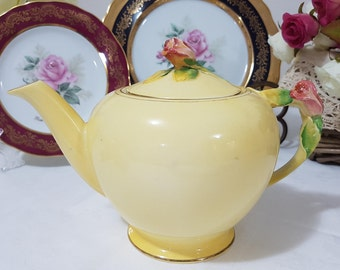 "Royal Winton ""Rosebud"" Vintage Large Size Yellow Teapot, England."