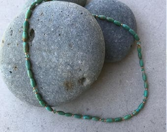 Oval Green Turquoise and Copper Beaded Necklace with Swarovski Accent