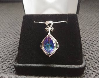 Mystic Topaz Gemstone Solid Sterling Silver Necklace