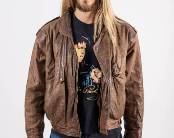 Vintage 80s Cian Brown Leather Bomber
