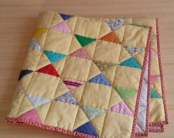 Baby Yellow Patchwork Easter Gift Cotton Quilt Blanket Throws Scrappy quilt Patchwork bedspread Quilted throw Quilted lap blanket