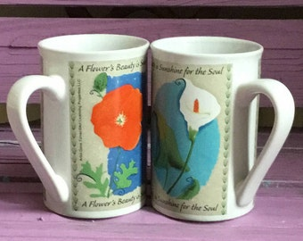 "10oz Pair of Vintage Coffee Tea Cup Mug Cups Mugs Reads: "" A Flowers Beauty Is Sunshine For The Soul "" Dona Turner Artist 10 oz"