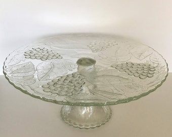 Crystal Cake Stand - Footed Cake PlateinVintageGrape bySmith Glass - Vintage Pressed Glass Cake Stand - Grapes and Leaf Design