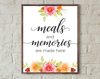 kitchen wall art,meals and memories,kitchen signs,kitchen decor,kitchen wall prints,kitchen art printable,family quotes,new home gifts,