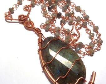 Copper and Labrador technical wire necklace
