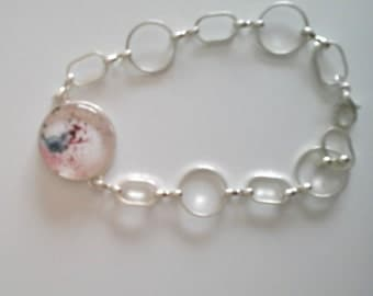 Bracelet chains with cabochon glass - watercolor painting