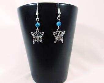 Silver Butterfly Earrings, Butterfly Drop Earrings, Butterfly Earrings, Silver Butterfly Drop Earrings, Silver Drop Earrings, Drop Earrings