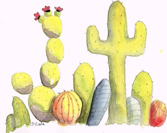 Watercolor, Illustration, Cactus, Cacti,  Limited Edition Print
