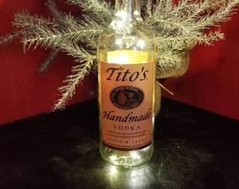 Tito's Vodka Recycled Liquor Bottle  Warm LED Light - Man Cave Light - Bar Light - Birthday - gift for him her