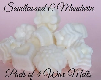 Wax Melts, Pack of 4 soy Wax Melts Sandlewood & Mandarin