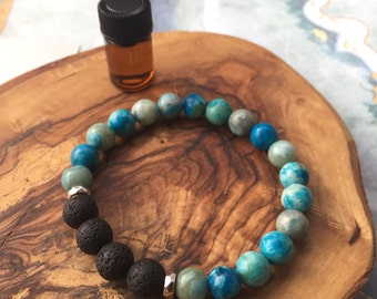 TURQUOISE JASPER essential oil bracelet: strength, courage, wisdom, grounding, stability