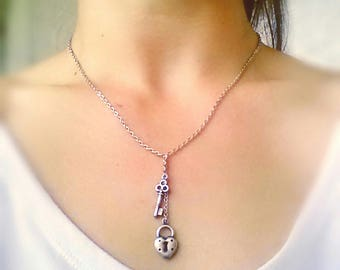 Key To My Heart Lariat Necklace Silver Heart Lock And Key Necklace Heart Lock Key Charm Necklace