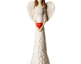 White Angel Statuette | Angel Of Love | Angel for Brides | Table Standing Ceramic Ornament | Quirky Handmade Figurine