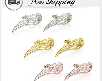 FREE SHIPPING - Wing Earrings, Sterling Silver Gold Plated Rose Gold Plated Angel Wing Stud Earrings, Wing Jewelry, Angel Wing, Wings Studs