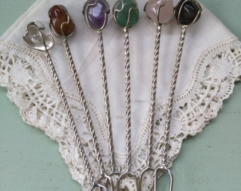 6 forks in silver and natural stones for aperitif vintage appetizers