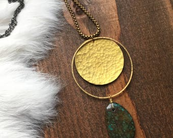 Hammered Brass Disc and Hoop Turquoise Necklace