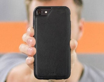Black Leather iPhone Case with Airo Shock Protection by Mous Limitless - for iPhone 7, 6S, 6 and iPhone 7 Plus, 6S Plus, 6 Plus