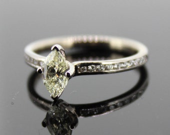 18ct White Gold Fancy Yellow Marquise Diamond Ring
