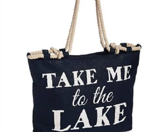 Large Burlap Tote Bag Carry All Take Me To The Lake Navy