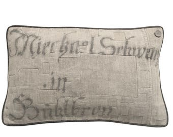 RARE - 1841 - Antique German Grain Sack Pillow from 1841 -  24 x 15""