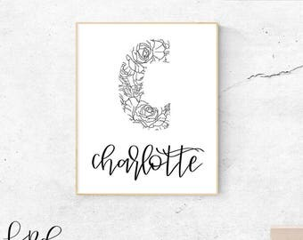 Charlotte, instant download, poster, wall art, printable, wall prints, hand-lettered monogram, floral monogram, customized prints