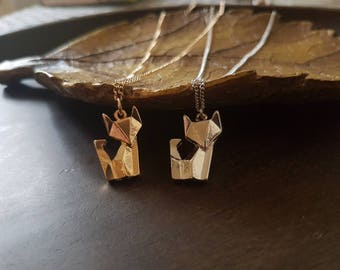 Origami fox, origami necklace, geometric necklace, origami animal, minimalist necklace, fox pendant, silver fox necklace
