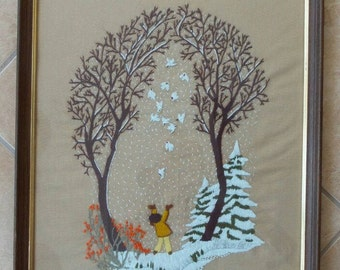 Large Crewel Embroidery Doves Snow Framed African American Little Girl
