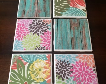 Set of 6 Tile Floral and Distressed Wood Coasters
