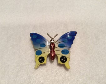Unique Vintage Beautiful Butterfly Brooch - Hand Painted