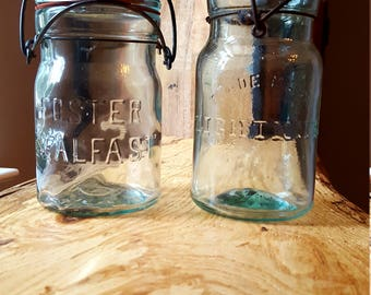 Two Vintage Pint Mason Jars with Glass Lids and Wire Bails Foster Sealfast & Trademark Lightning