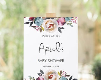 Watercolor Flowers Baby Shower Welcome Sign Printable Custom Welcome Baby Sign Floral Baby Party Decorations Editable Sign Template PDF LF1