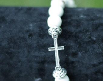 Howlite and cross bracelet